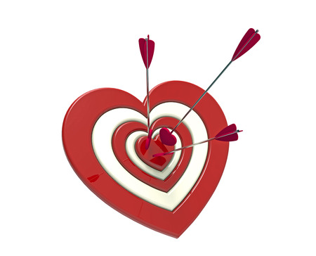 Heart shaped target and arrow, 3D render, on the white background photo