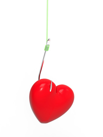 Heart on the hook, 3D render, on the white background photo
