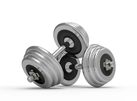 Two dumbbells on white background, 3D render photo
