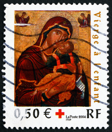commemorate: FRANCE - CIRCA 2004: a stamp printed in the France shows Virgin with Child, Painting Attributed to Cretan School, circa 2004 Editorial
