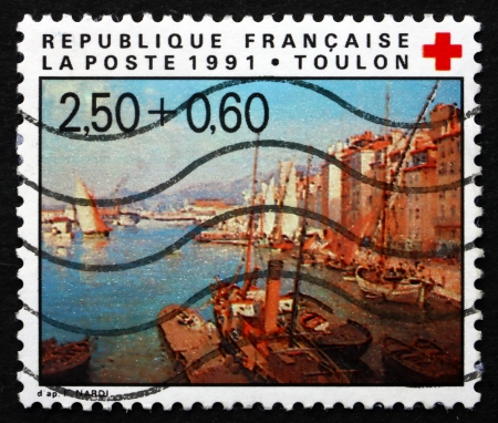 toulon: FRANCE - CIRCA 1991: a stamp printed in the France shows The Harbor of Toulon, Painting by Francois Nardi, circa 1991