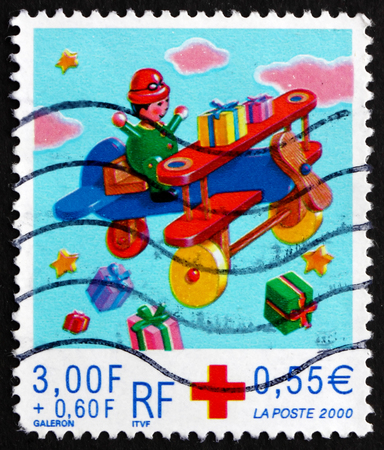 FRANCE - CIRCA 1999: a stamp printed in the France shows Toy Airplane, Christmas, circa 1999