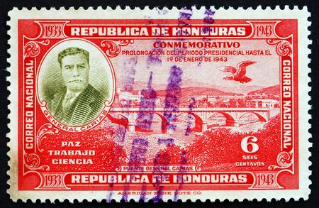 HONDURAS - CIRCA 1937: a stamp printed in Honduras shows General Carias Bridge, circa 1937
