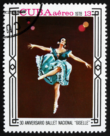 CUBA - CIRCA 1978: a stamp printed in the Cuba shows Scene from Giselle, Ballet, 30th Anniversary of National Ballet, circa 1978