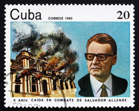 salvador allende: CUBA - CIRCA 1983: a stamp printed in the Cuba shows Salvador Allende, President of Chile, circa 1983