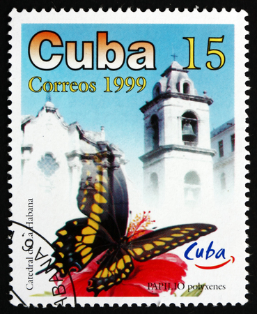 cuba butterfly: CUBA - CIRCA 1999: a stamp printed in the Cuba shows Eastern Black Swallowtail, Papilio Polyxenes, Butterfly, and Havana Cathedral, Havana Tourist Site, circa 1999