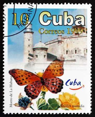 cuba butterfly: CUBA - CIRCA 1999: a stamp printed in the Cuba shows Antia Numidia, Butterfly, and Morro Castle, Havana Tourist Site, circa 1999