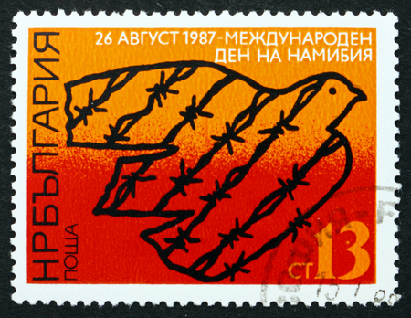 BULGARIA - CIRCA 1987: a stamp printed in the Bulgaria shows Dove and Barbed Wire, Namibia Day, circa 1987