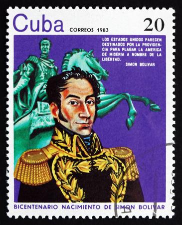 the liberator: CUBA - CIRCA 1983: un francobollo stampato in Cuba mostra Simon Bolivar, liberatore del Sud America, circa 1983