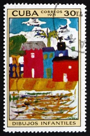 sorolla: CUBA - CIRCA 1972: a stamp printed in the Cuba shows Valencia Beach, Painting by Joaquin Sorolla y Bastida, National Museum, circa 1972 Editorial