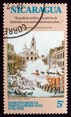 massacre: NICARAGUA - CIRCA 1975: a stamp printed in Nicaragua shows Boston Massacre, American Bicentennial, circa 1975 Editorial