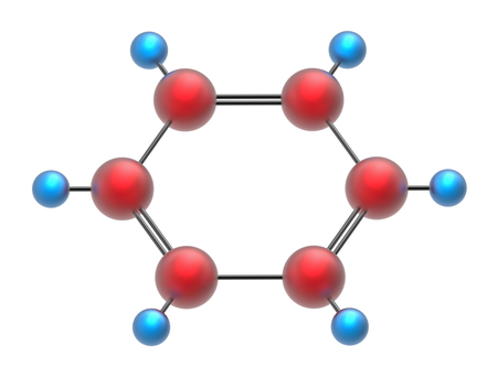 carcinogen: Molecule of benzene, 3D render, isolated on white