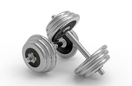 Two dumbbells on white background, 3D render Stock Photo