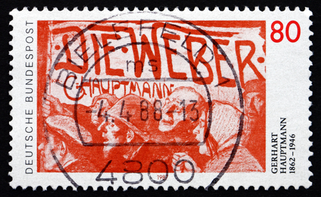 dramatist: GERMANY - CIRCA 1987: a stamp printed in the Germany shows Gerhart Hauptmann, Dramatist, Novelist and Playwright, Nobel Laureate, circa 1987