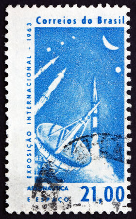 aeronautics: BRAZIL - CIRCA 1963: a stamp printed in the Brazil shows Radar Tracking Station and Rockets, International Aeronautics and Space Exhibition, Sao Paulo, circa 1963