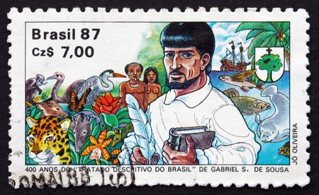 treatise: BRAZIL - CIRCA 1987: a stamp printed in the Brazil shows Descriptive Treatise of Brazil, by Gabriel S. de Sousa, Portuguese Explorer and Naturalist, 400th Anniversary, circa 1987