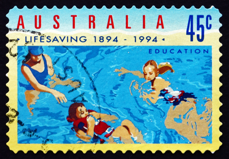 life saving: AUSTRALIA - CIRCA 1994: a stamp printed in the Australia shows Education, Royal Life Saving Society, Centenary, circa 1994 Editorial