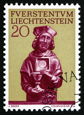 florin: LIECHTENSTEIN - CIRCA 1966: a stamp printed in the Liechtenstein shows Statue of St. Florin, Patron Saint of Vaduz Cathedral, circa 1966