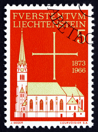 florin: LIECHTENSTEIN - CIRCA 1966: a stamp printed in the Liechtenstein shows Vaduz Parish Church, Cathedral of St. Florin, circa 1966 Editorial
