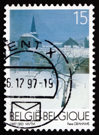 pierre: BELGIUM - CIRCA 1997: a stamp printed in the Belgium shows Fairon, Painting by Pierre Grahame, Christmas, circa 1997