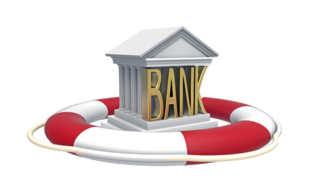 buoyancy: Bank with lifebuoy, 3D render, isolated on white Stock Photo