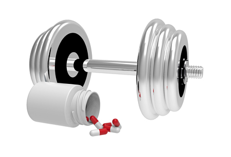 Dumbbells with vial of pills, on white , 3D render photo