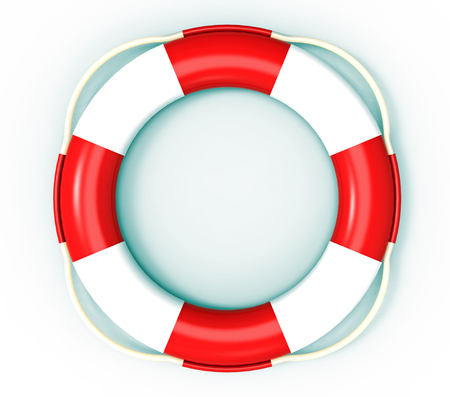 Lifebuoy, life saving buoy, 3D render, isolated on white photo