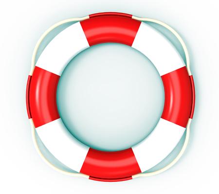 life saving: Lifebuoy, life saving buoy, 3D render, isolated on white Stock Photo