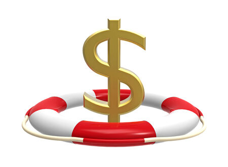 Lifebuoy with dollar sign, 3D render, isolated on white Stock Photo