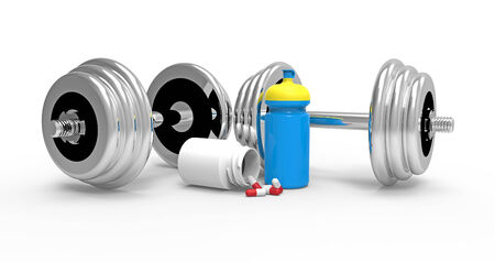 Two dumbbells with vial of pills, on white , 3D render photo