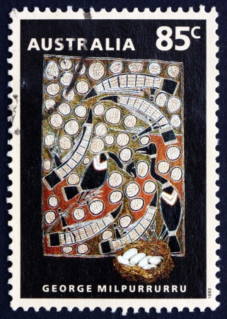 AUSTRALIA - CIRCA 1993: a stamp printed in the Australia shows Goose Egg Hunt, Painting by George Milpurrurru, Aboriginal Painting, circa 1993