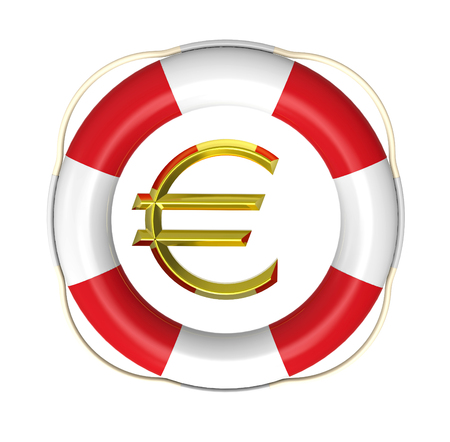 buoyancy: Lifebuoy with dollar sign, 3D render, isolated on white Stock Photo