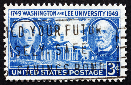 founding: UNITED STATES OF AMERICA - CIRCA 1949: a stamp printed in the USA shows George Washington, Robert E. Lee and University Building, 200th Anniversary of the Founding, circa 1949
