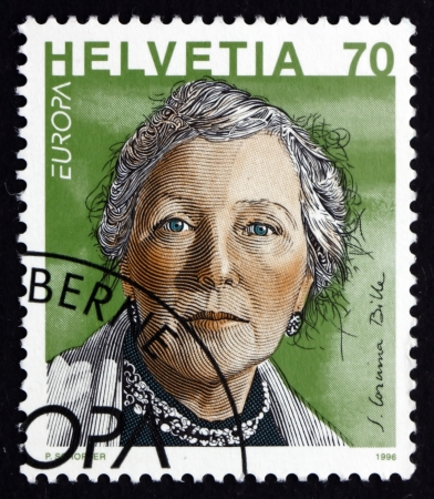 helvetia: SWITZERLAND - CIRCA 1996: a stamp printed in the Switzerland shows S.Corinna Bille, Writer, circa 1996 Editorial