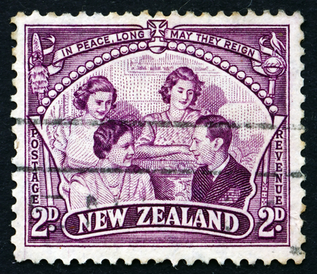 royal family: NEW ZEALAND - CIRCA 1946: a stamp printed in the New Zealand shows The Royal Family, circa 1946