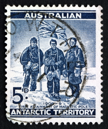 AUSTRALIA - CIRCA 1961: a stamp printed in the Australia, Australian Antarctic Territory shows Edgeworth David, Douglas Mawson and A. F. McKay, South Pole Expedition, circa 1961 Stock Photo - 24329896