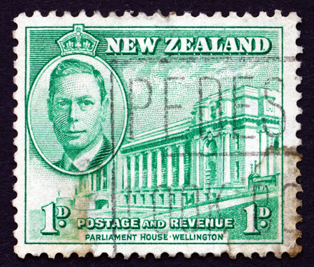 NEW ZEALAND - CIRCA 1946: a stamp printed in the New Zealand shows Parliament House, Wellington, circa 1946