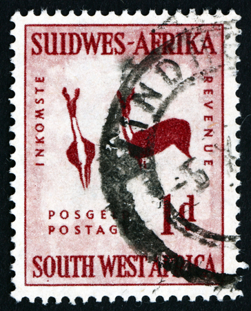 rock painting: SOUTH WEST AFRICA - CIRCA 1954: a stamp printed in South West Africa shows Rock Painting of Two Bucks, circa 1987