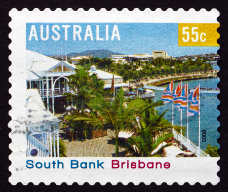 AUSTRALIA - CIRCA 2008: a stamp printed in the Australia shows South Bank, Brisbane, Tourist Precinct, circa 2008