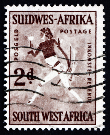 rock painting: SOUTH WEST AFRICA - CIRCA 1954: a stamp printed in South West Africa shows Rock Painting of White Lady, circa 1987
