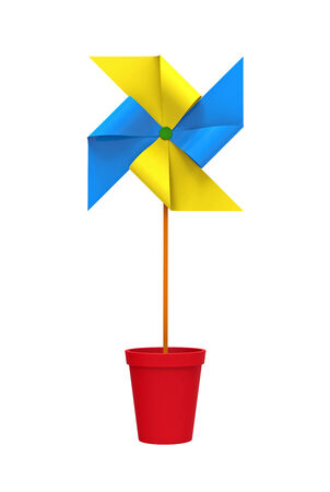 Colored Pinwheel in a Pot, isolated on white photo