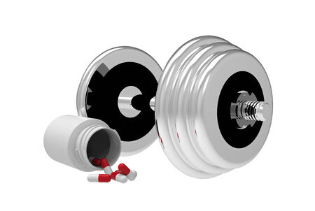 Dumbbell with vial of pills, on white background, 3D render photo