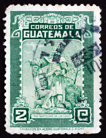 friar: GUATEMALA - CIRCA 1949: a stamp printed in Guatemala shows Bartolome de las Casas and Indian, Historian and Dominican Friar, Protector of the Indians, circa 1949