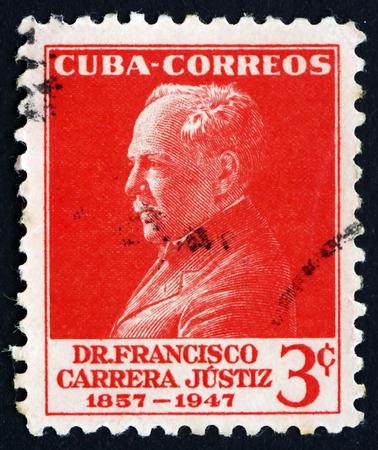 statesman: CUBA - CIRCA 1953: un francobollo stampato in Cuba mostra Francisco Carrera Justiz, educatore e statista, circa 1953 Editoriali