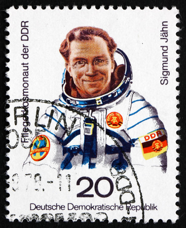 GDR - CIRCA 1978: a stamp printed in GDR shows Sigmund Jahn, 1st German Cosmonaut on Russian Space Mission, circa 1978