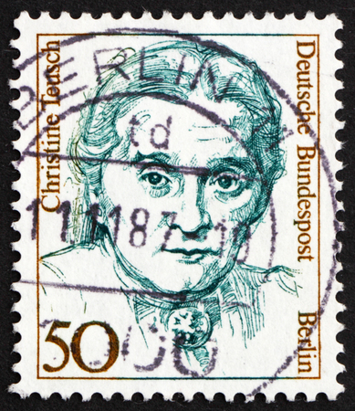 educations: GERMANY - CIRCA 1986: a stamp printed in Berlin, Germany shows Christine Teusch, Minister of Educations and Cultural Affairs, circa 1986