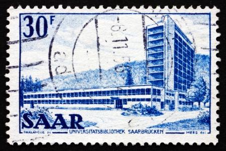 saar: GERMANY - CIRCA 1953: a stamp printed in the Saar University Library, circa 1953