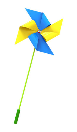 Colored Pinwheel, isolated on white, 3d render photo