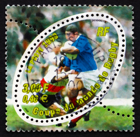 FRANCE - CIRCA 1999: a stamp printed in the France shows Rugby Scene, 1999 Rugby World Cup, Cardiff, Wales, circa 1999
