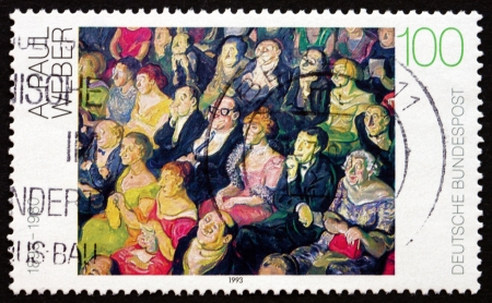 weber: GERMANY - CIRCA 1993: a stamp printed in the Germany shows Audience, Painting by Andreas Paul Weber, circa 1993